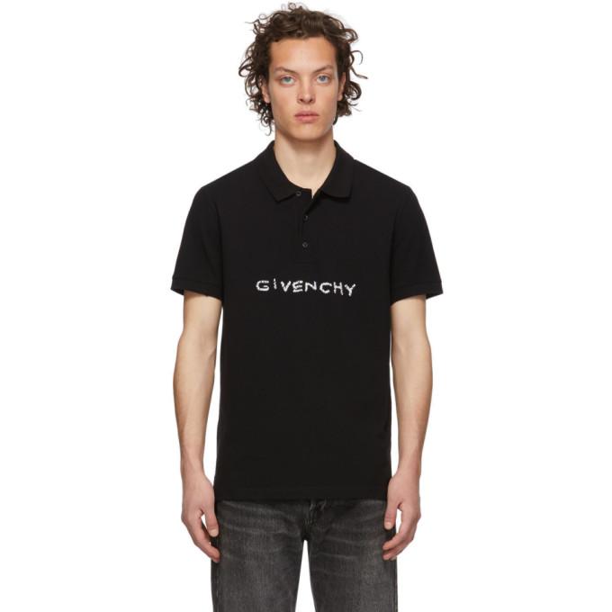 GIVENCHY   Givenchy Black Stitch Logo Polo   Goxip