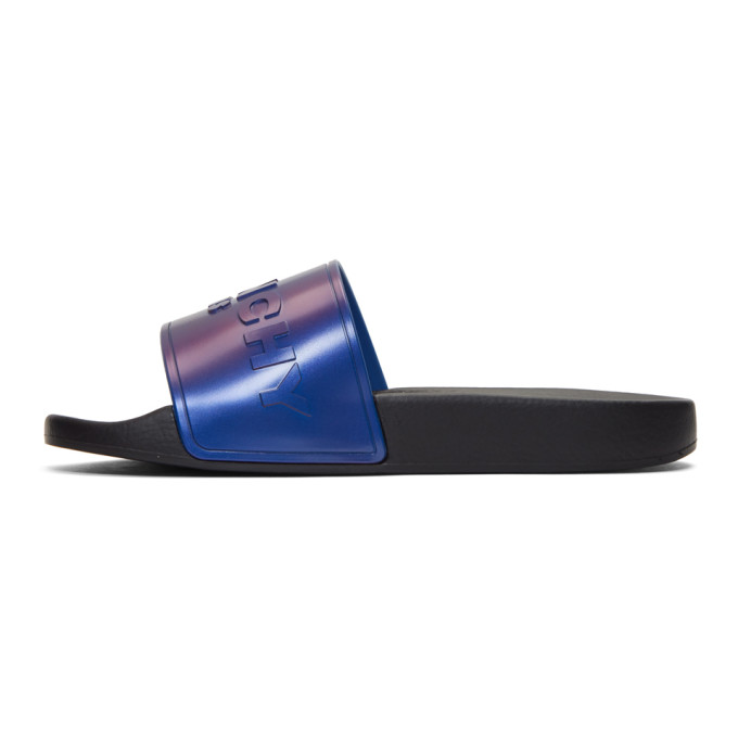 Givenchy Logo Rubber Slides In Black