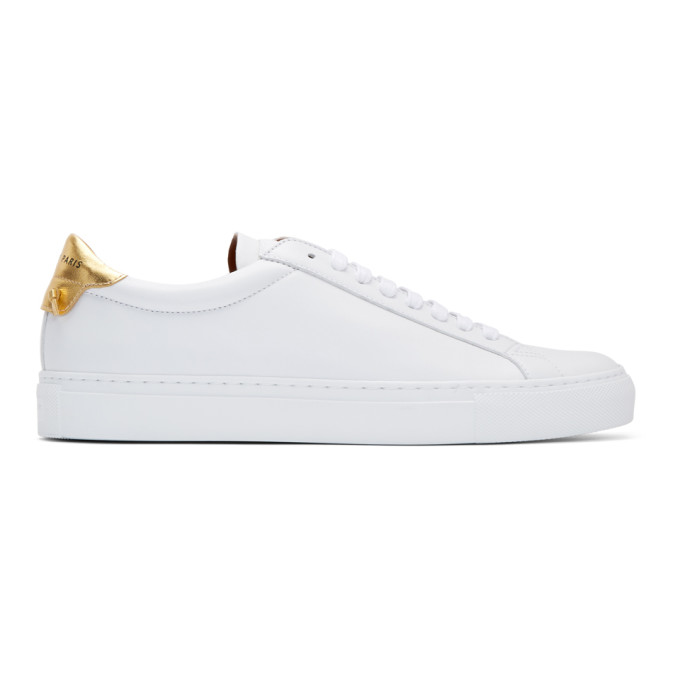 Givenchy Men's Urban Street Sheep Leather Sneakers In 119-Wht/Gld