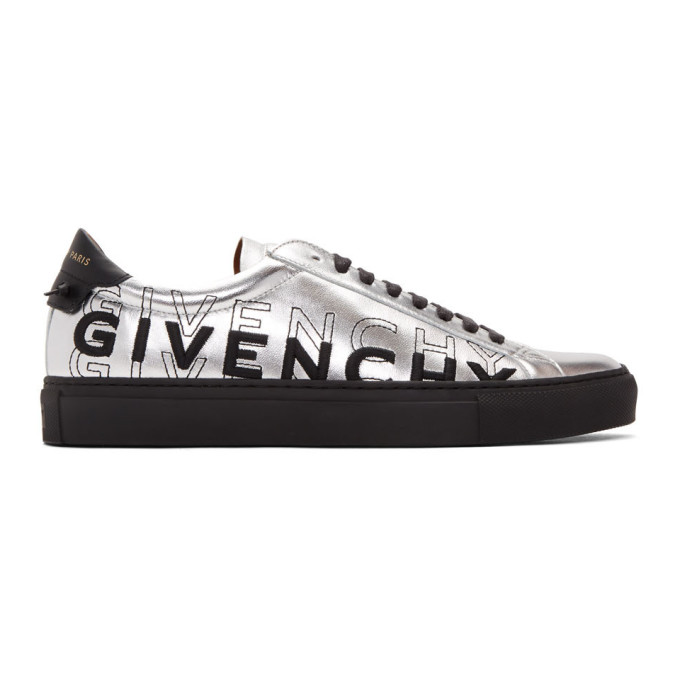 GIVENCHY | Givenchy Silver And Black Embroidered Urban Street Sneakers | Goxip