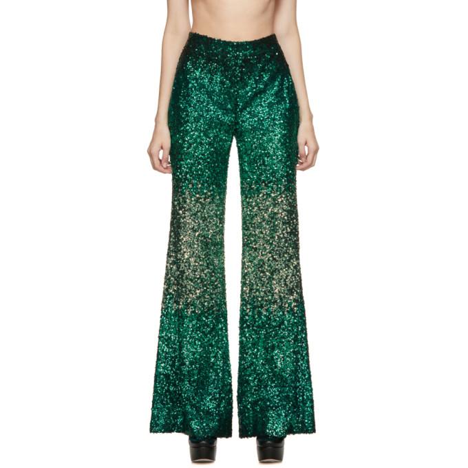 Halpern Pantalon a paillettes vert Stovepipe exclusif a SSENSE