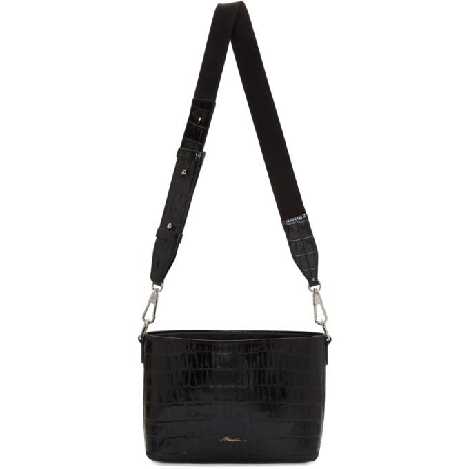 31 Phillip Lim Black Croc Claire Crossbody Bag