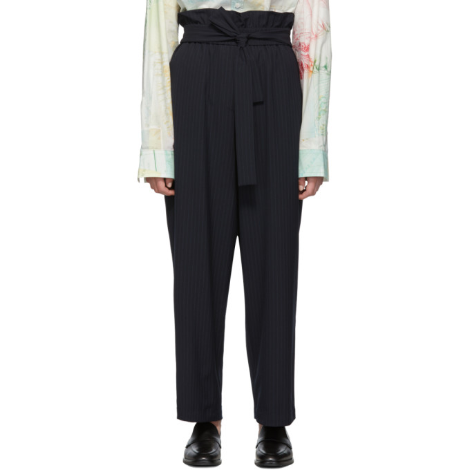 31 Phillip Lim Navy Paperbag Waist Trousers 192283F08700802