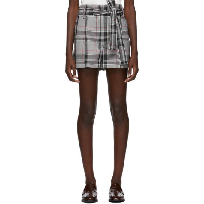 31 Phillip Lim Black and White Plaid Belted Shorts