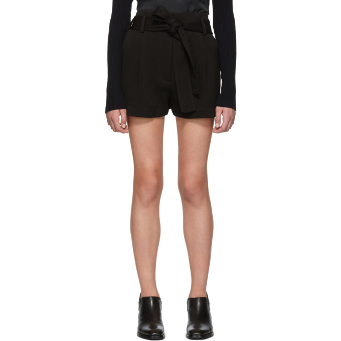 31 Phillip Lim Black High Waisted Twill Shorts
