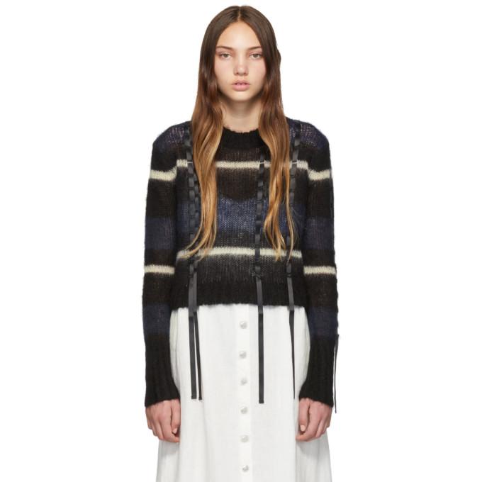 31 Phillip Lim Black and Navy Stripe Sweater