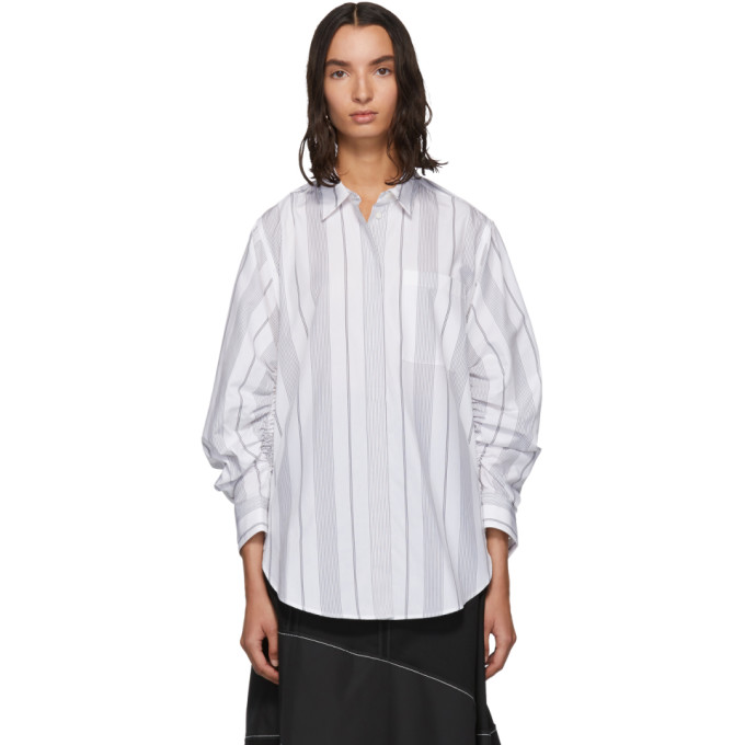 31 Phillip Lim Black and White Gathered Sleeve Shirt