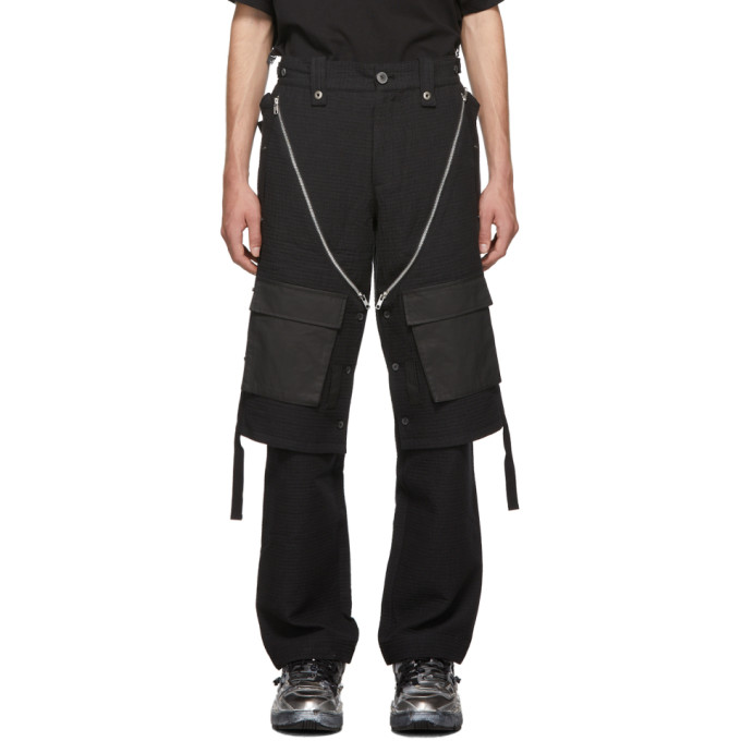 Blackmerle Pantalon cargo a carreaux noir