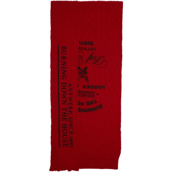 Raf Simons Foulard asymetrique en laine rouge