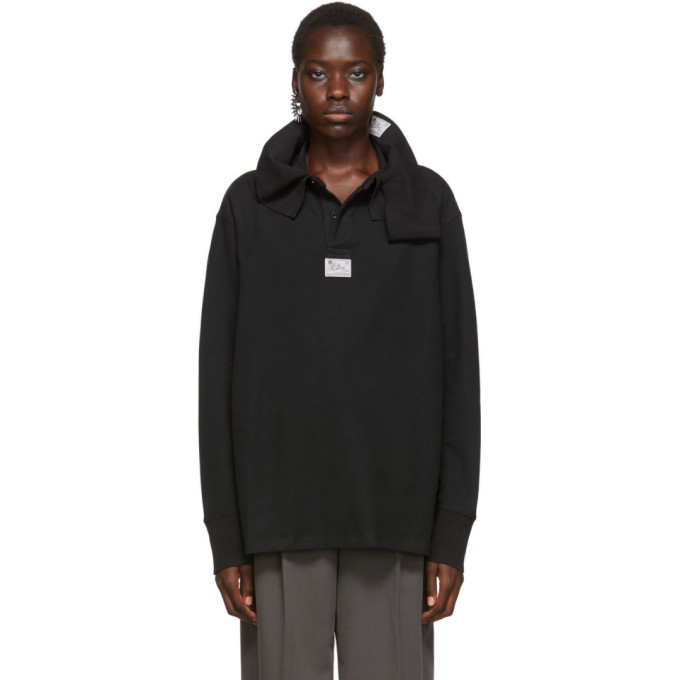 Raf Simons Pull noir Loose Hanging Collar Rugby