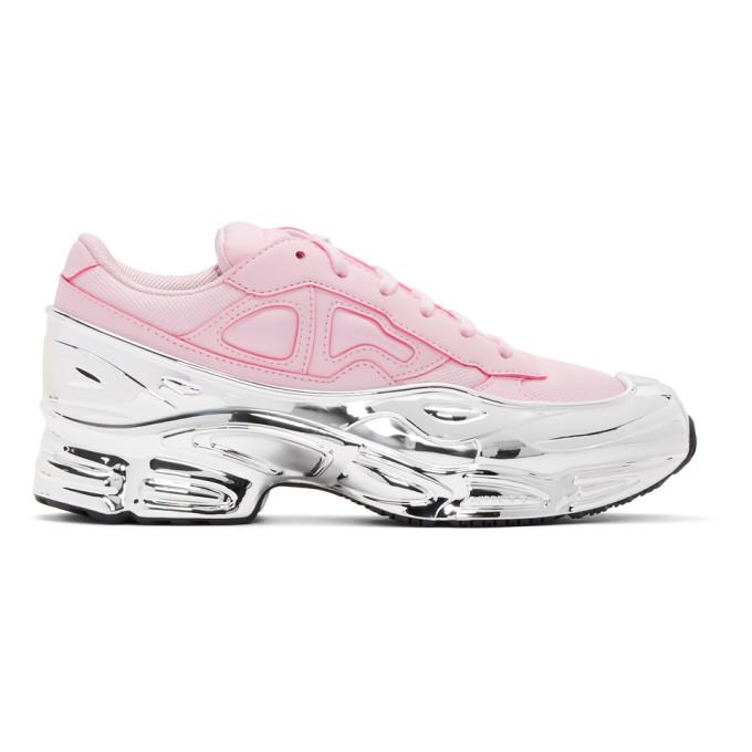 RAF SIMONS | Raf Simons Pink And Silver Adidas Originals Edition Ozweego Sneakers | Goxip