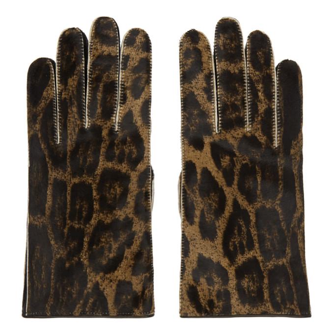 Raf Simons Gants en cuir bruns Animal Print