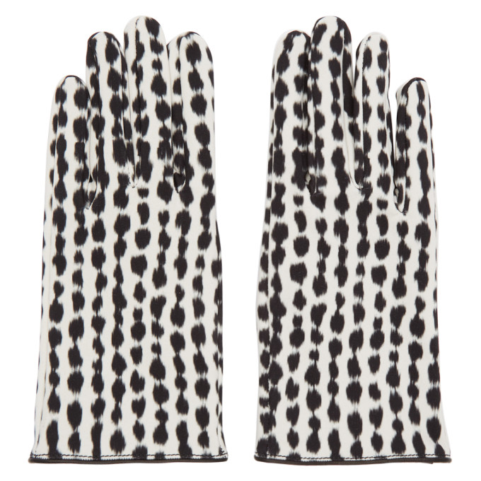 Raf Simons Gants noirs et blancs Animal Print