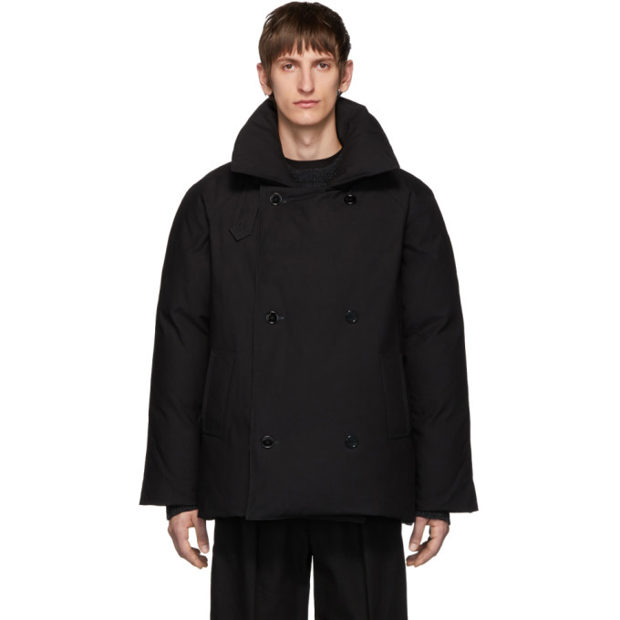 Raf Simons Black Down Double-breasted Coat In 00099 Black