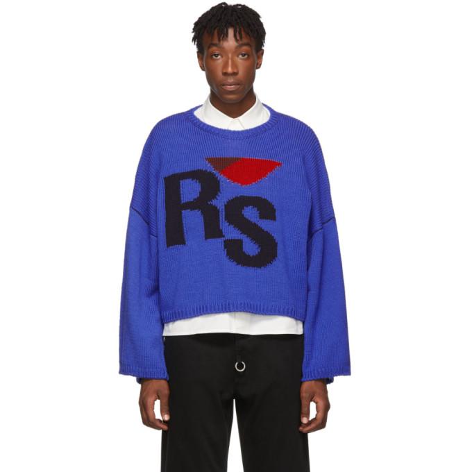 Raf Simons ブルー バージン ウール クロップド オーバーサイズ RS セーター