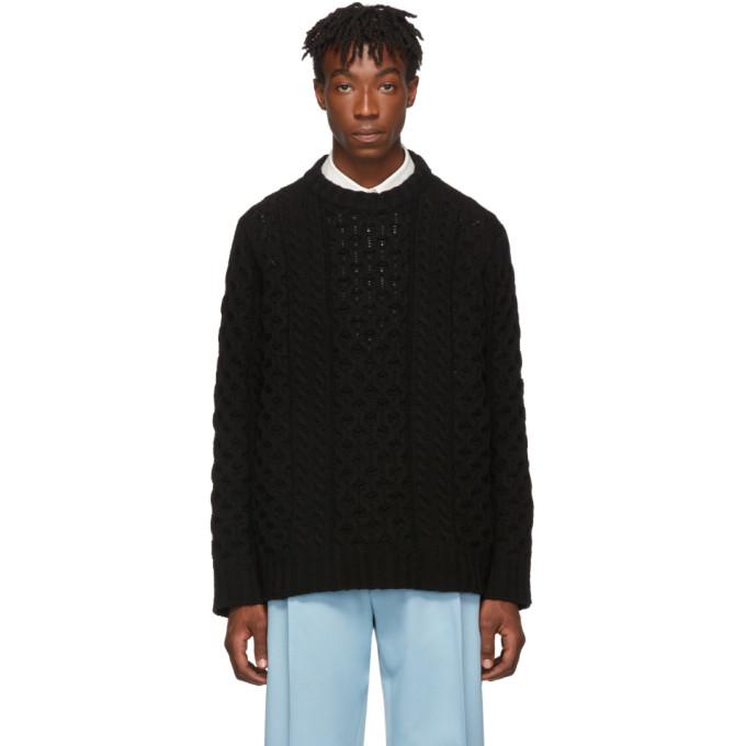 Raf Simons Black Virgin Wool Aran Knit Sweater