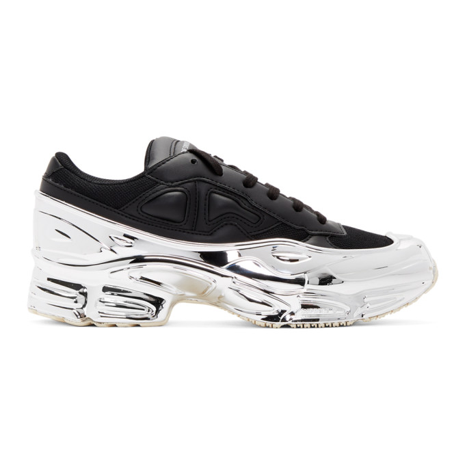 Raf Simons Sneakers RAF SIMONS BLACK AND SILVER ADIDAS ORIGINALS EDITION OZWEEGO SNEAKERS