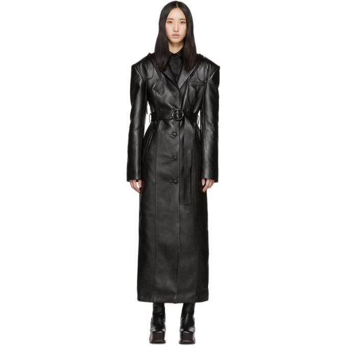 Materiel Tbilisi Manteau en cuir synthetique a decoupes noir