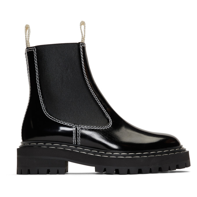 Proenza Schouler Black Lug Sole Chelsea Boots