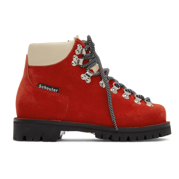 Proenza Schouler Red Lace-Up Hiking Boots