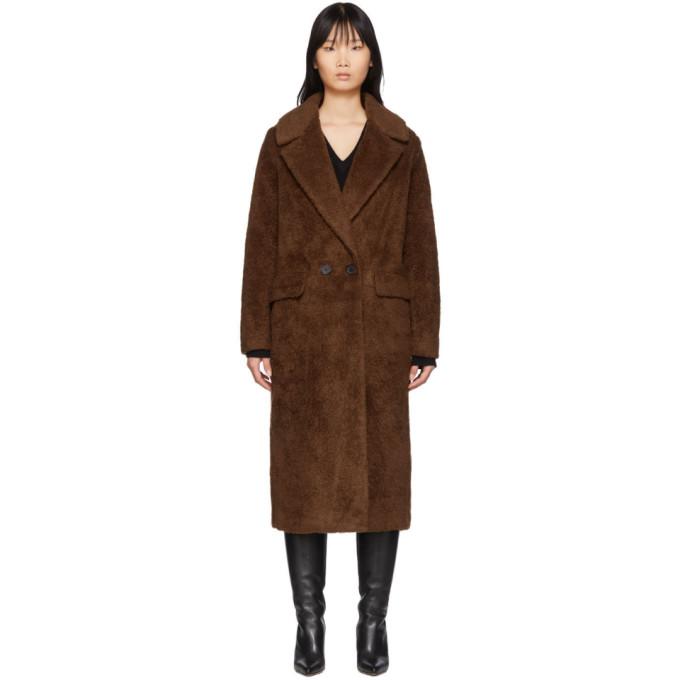 The Loom Manteau en fourrure synthetique de laine brun Double
