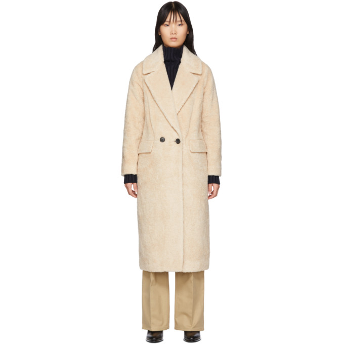 The Loom Manteau en fourrure synthetique de laine blanc casse Double