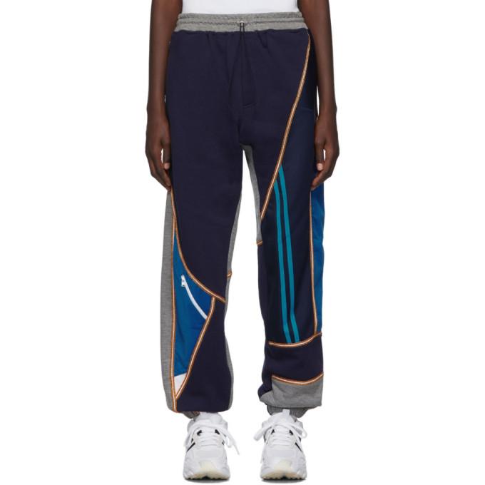 Ahluwalia Studio Pantalon de survetement a patchwork gris et bleu marine Jogger