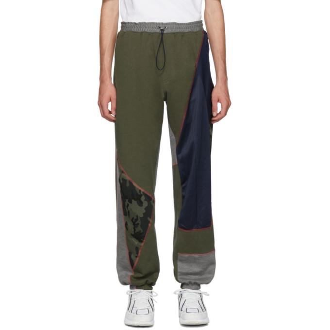 Ahluwalia Studio Pantalon de survetement a patchwork kaki et bleu marine Over Stitch Jogger