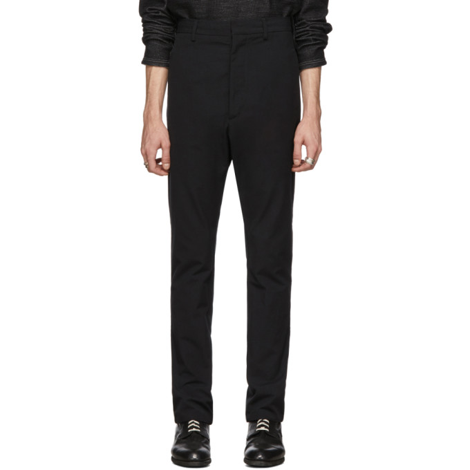 Deepti Black Low Crotch Membrane Trousers