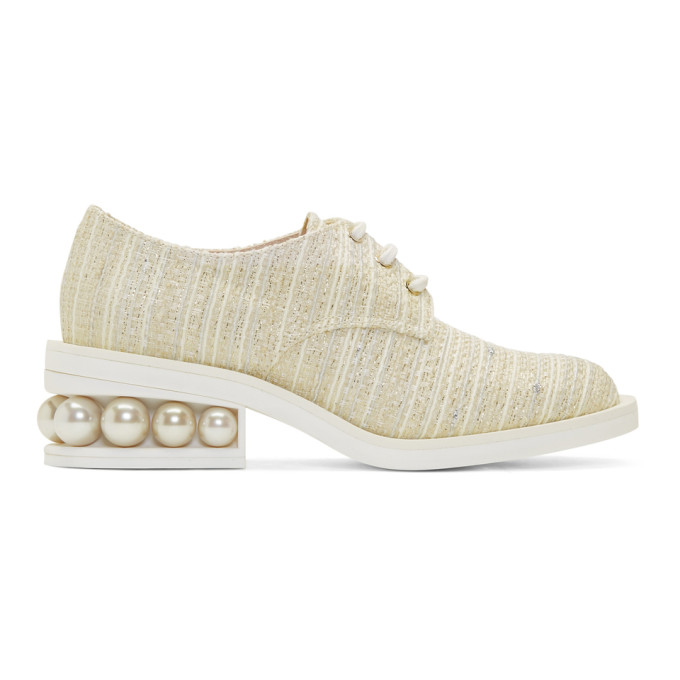 Nicholas Kirkwood Off-White Tweed Casati Pearl Derbys