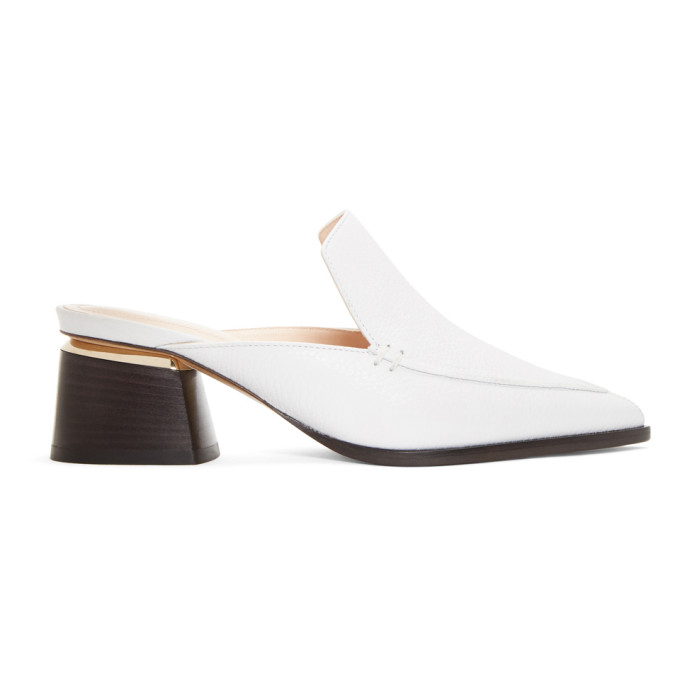 Nicholas Kirkwood White Leather Beya Mules