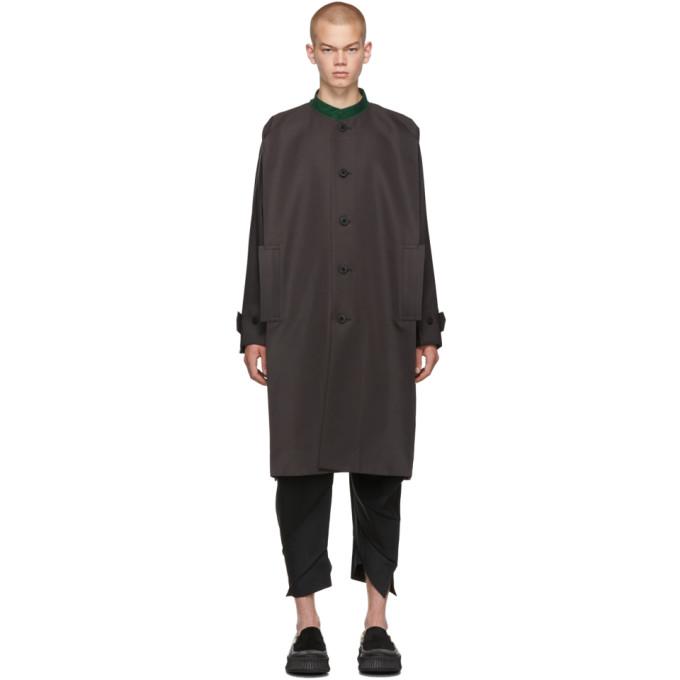 132 5 ISSEY MIYAKE Grey Collarless Long Coat