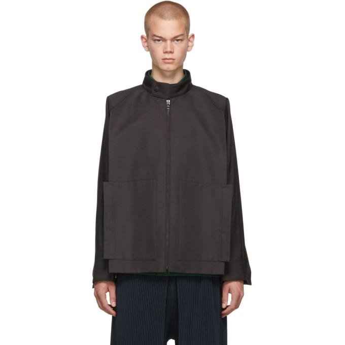 132 5 ISSEY MIYAKE Grey Panelled Zip Up Jacket