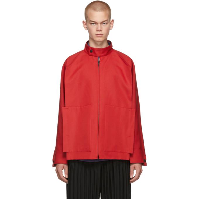 132 5 ISSEY MIYAKE Red Panelled Zip Up Jacket