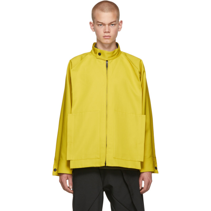 132 5. ISSEY MIYAKE Yellow Panelled Zip-Up Jacket