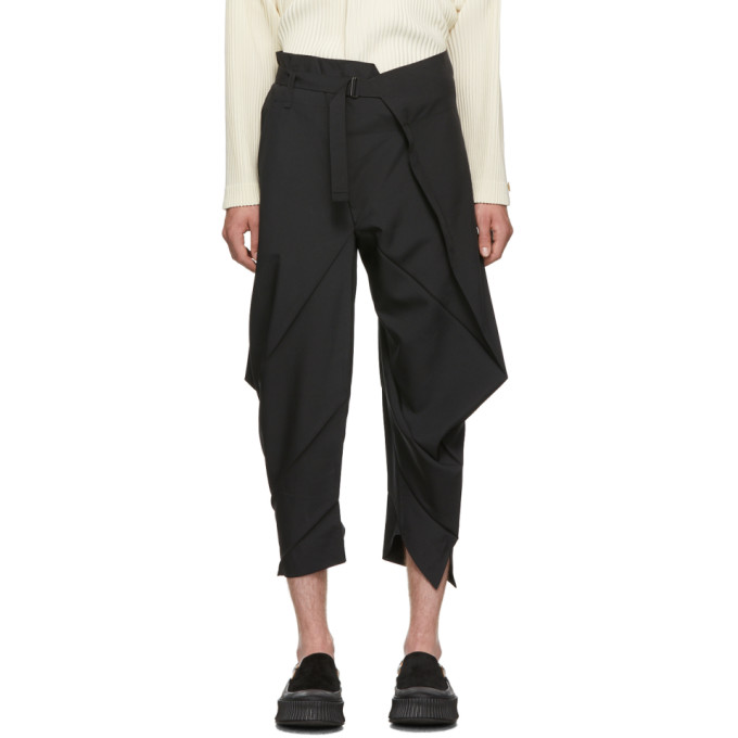 132 5 ISSEY MIYAKE Black Helix Trousers