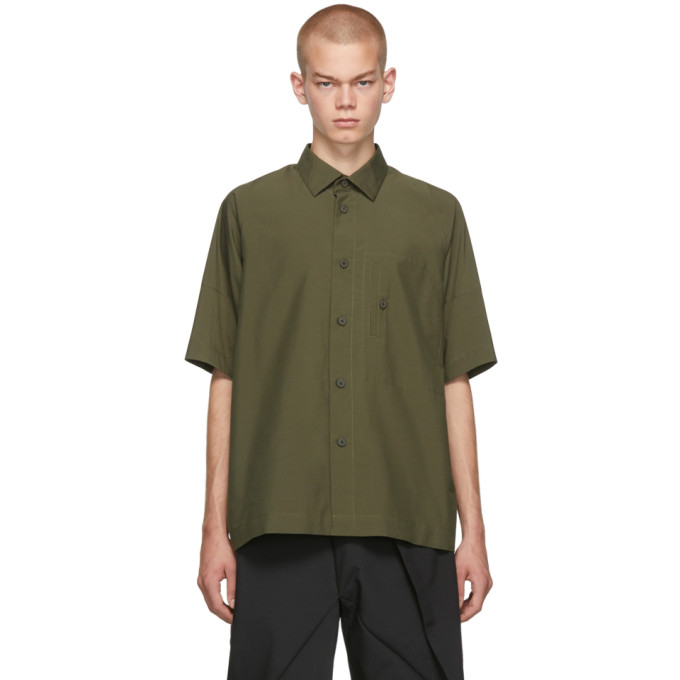 132 5 ISSEY MIYAKE Khaki Integrated Pocket Three Quarter Shirt