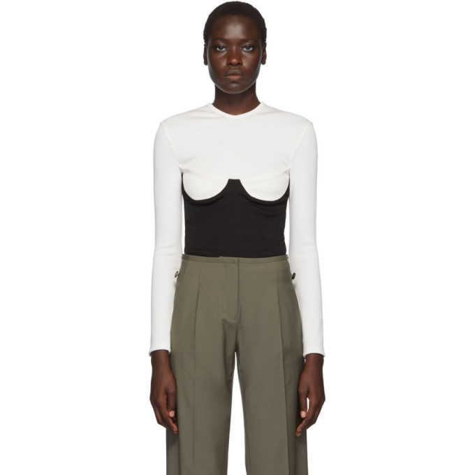 Christopher Esber T-shirt blanc et noir Inbuilt Bra