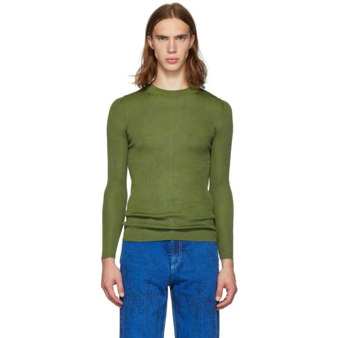 Judy Turner Green Silk Base Crewneck Sweater