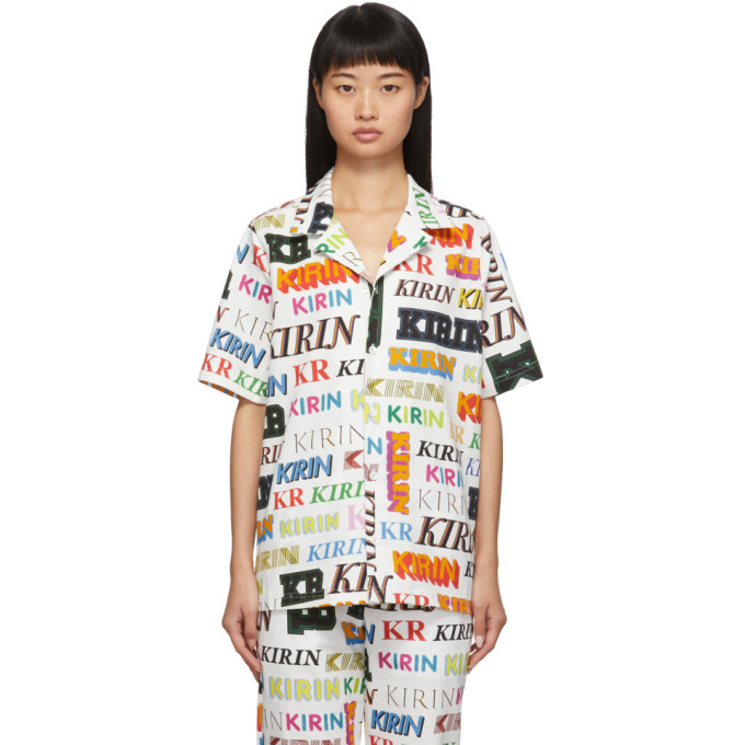 Kirin Chemise blanche et multicolore Typo