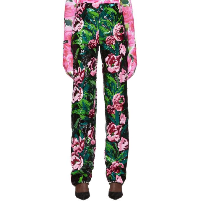 Richard Quinn Pantalon fleuri noir Embellished