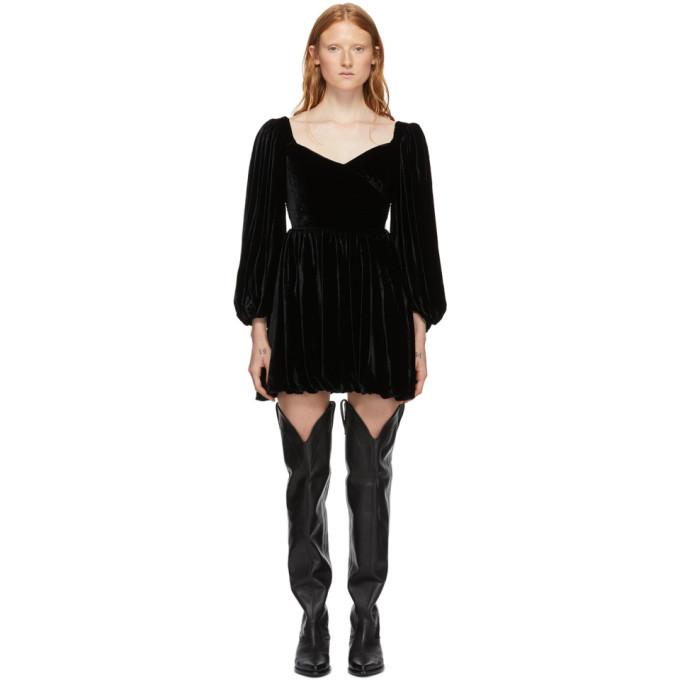 Wandering Robe en velours a manches bouffantes noire Mini exclusive a SSENSE