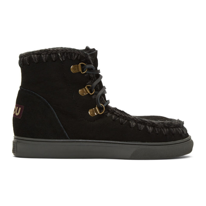 Mou Black Sneaker Lace-Up Boots