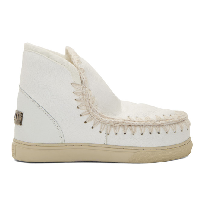 Mou White Cracked Mini Sneaker Boots