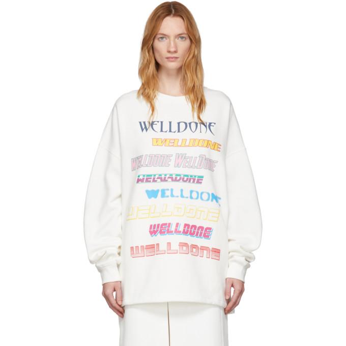 We11 Done T-shirts WE11DONE WHITE FRONT LOGO SWEATSHIRT