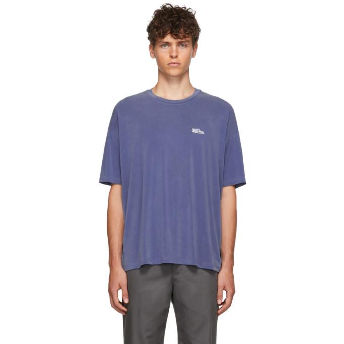 We11done T-shirt surdimensionne a logo bleu