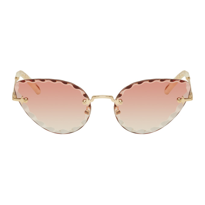 Chloe Gold and Pink Rosie Sunglasses