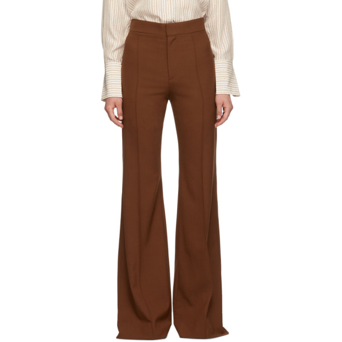 Chloe Brown Stretch Wool Flared Trousers