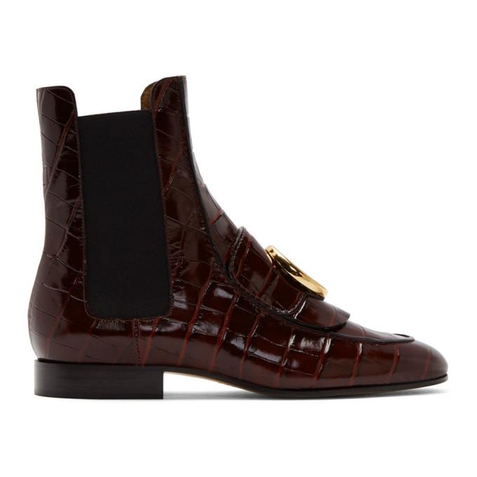 Chloe Burgundy Croc Chloe C Ankle Boots