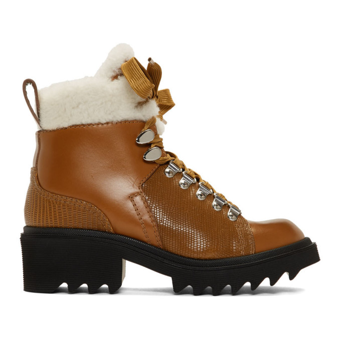 Chloe Brown Shearling Bella Mountain Boots
